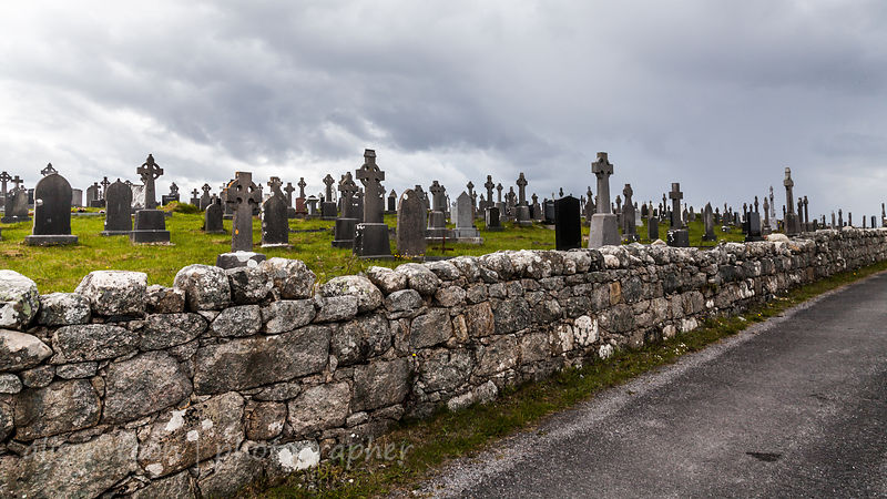 Cemetary and Irish crosses,  Connemara, Ireland