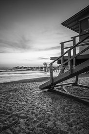 San Clemente Lifeguard Tower One Black and White Photo