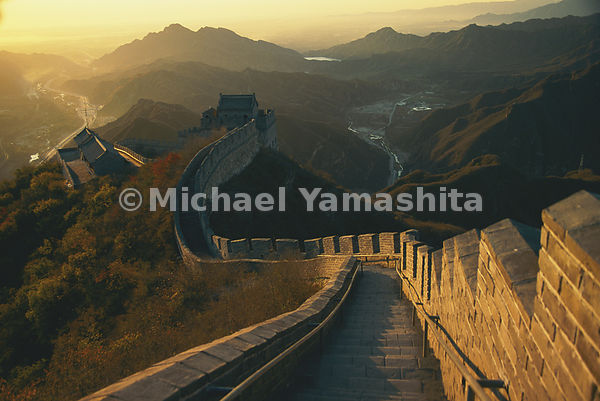 The Great Wall of China at sunrise/ sunset. Juyongguan, China