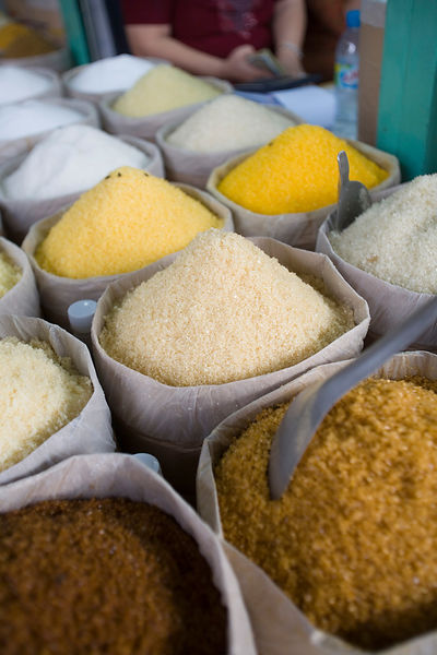 Sugar on sale at a street market in Cho Lon district