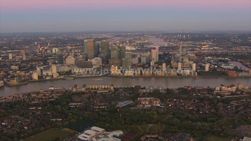 Aerial view of Rotherhithe and Canary Wharf sunset, London