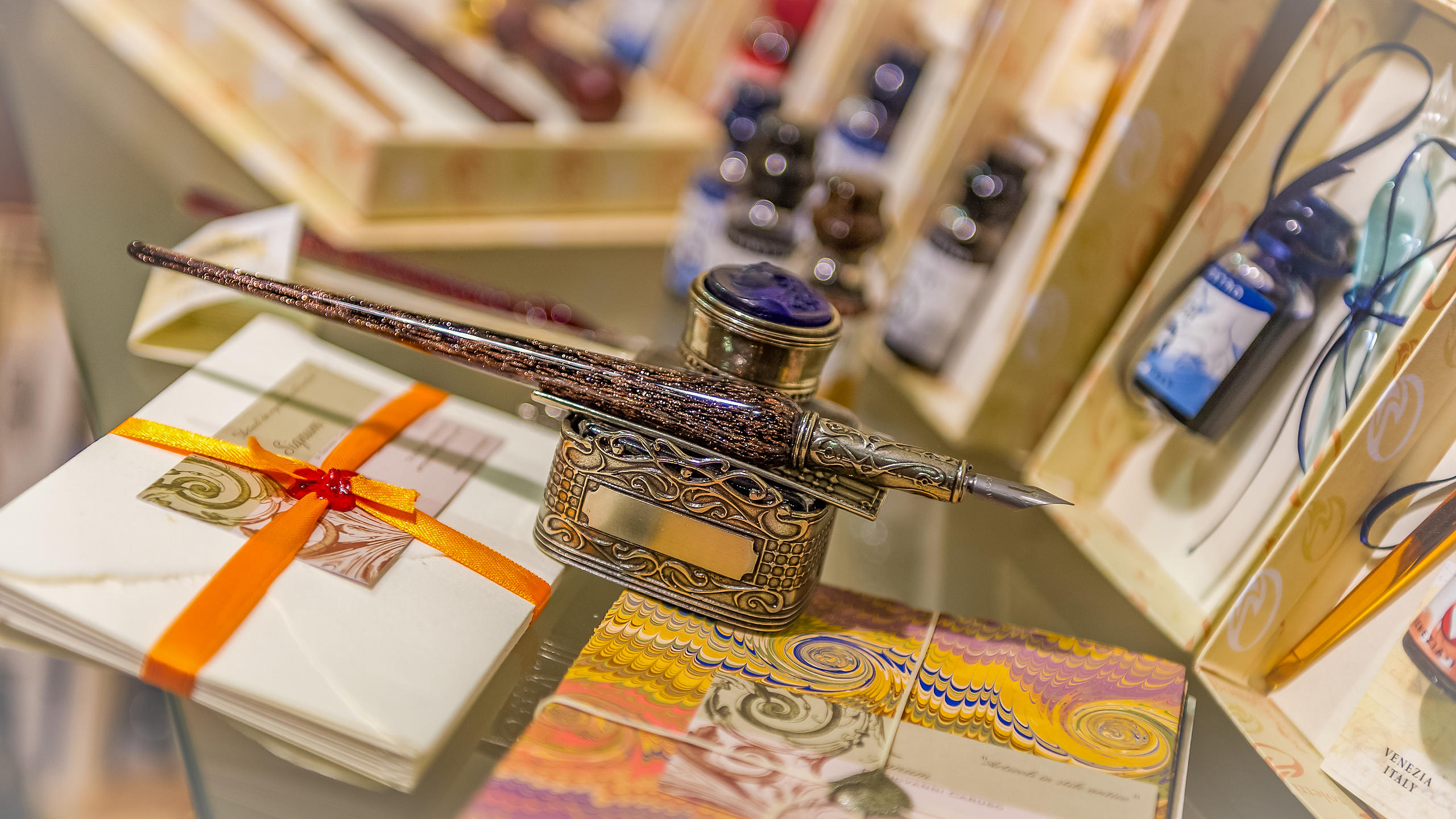 Fountain Pens and Notepaper in a Shop Window, Venice