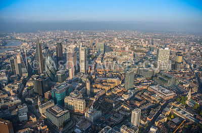 Aerial view of London, 30 St Mary's Axe with The Scalpel Building and 100 Bishopsgate under construction.