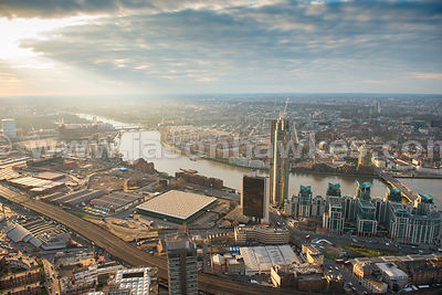 Aerial view of Nine Elms at dusk, Battersea, London