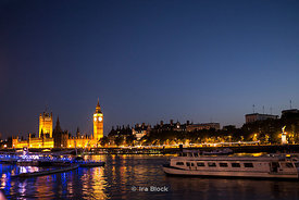 Big Ben, House of Parliament and River Thames at night.