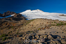 The raw glaciated terrain on the slopes of Mt. Baker, looking up toward Sherman Crater, Mt. Baker–Snoqualmie National Forest,...