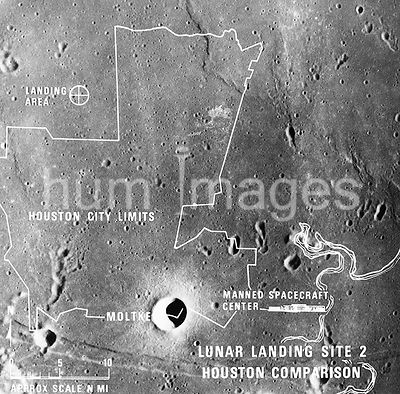 (July 1969) --- A photographic illustration comparing the size of Apollo Landing Site 2 with that of the metropolitan Houston...
