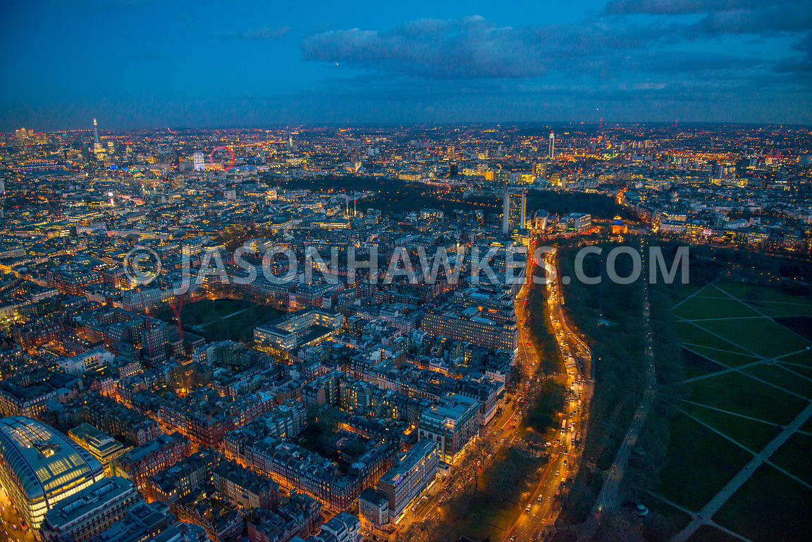 Aerial view of Park Lane at night, London