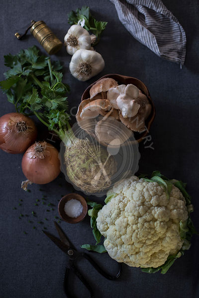 Ingredients for Creamy Cauliflower and Celery Root Soup with Roasted Shiitake Mushrooms