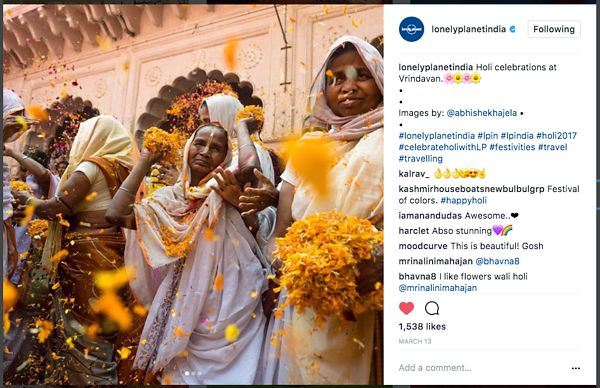 Lonely Planet official Instagram page; Holi Images; March 2017