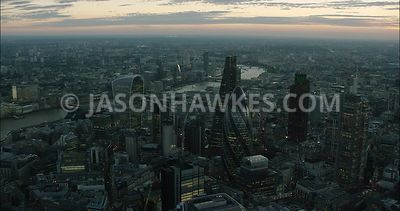 London Aerial Footage of City of London financial district with skyline.