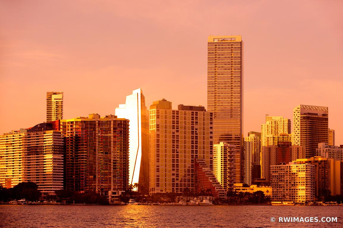 MIAMI DOWNTOWN SKYLINE AT SUNSET CITY OF MIAMI FLORIDA