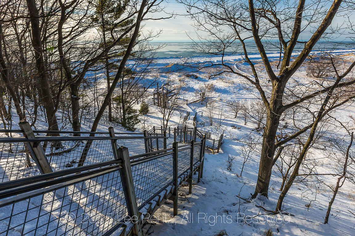 Staircase from Beach up and over Sand Dunes in Rosy Mound Natural Area along Lake Michigan