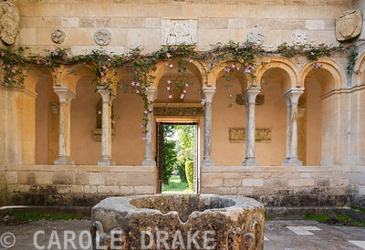 Open court in centre of the Cloisters with well head from a convent in Aquilegia. Iford Manor, Bradford-on-Avon, Wiltshire