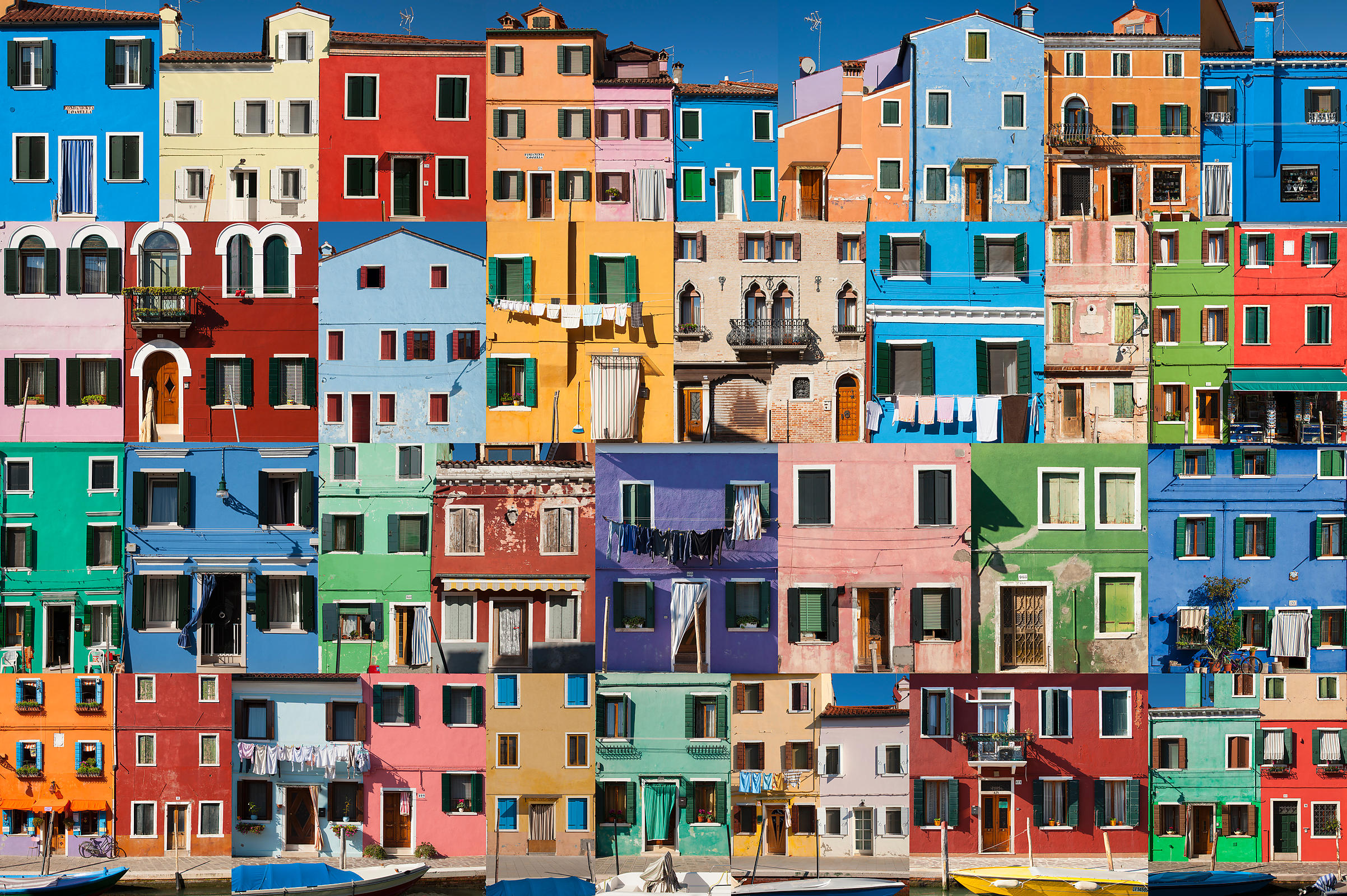 Collage of colorful buildings