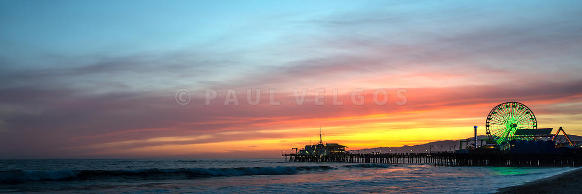 Santa Monica Pier at Sunset Panoramic Picture