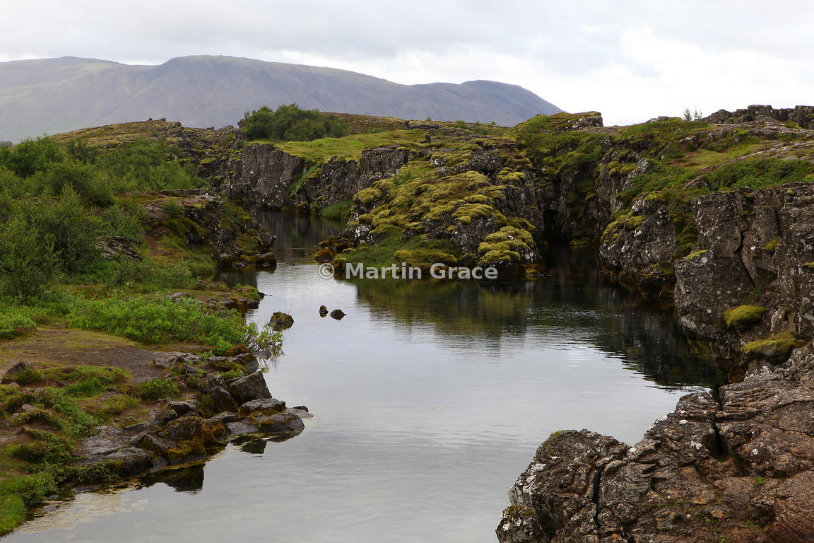 Water-filled rift in Thingvellir National Park, south-west Iceland