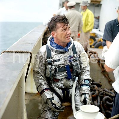 (23 Aug. 1965) --- Astronaut Walter M. Schirra Jr., Gemini-6 prime crew command pilot, is pictured onboard the NASA Motor Ves...