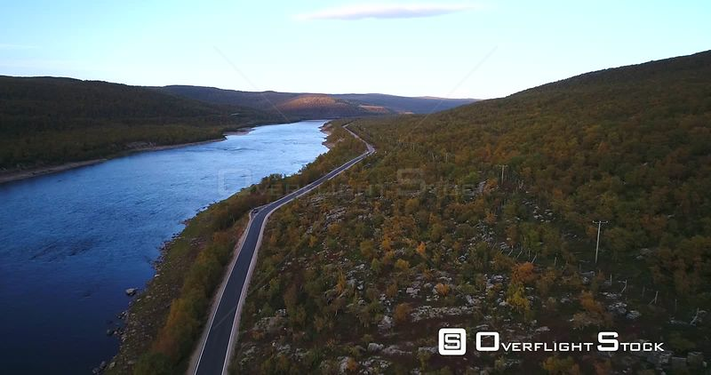 Autumn Color Road, Aerial View Over Road 970 the Tenontie, Near Tenojoki River, at the Border of Norway and Utsjoki, on a Sun...