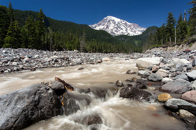 Glacial waters of the Nisqually River on the Wonderland Trail, Mount Rainier National Park, Washington
