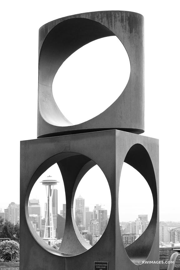 SEATTLE KERRY PARK MODERN ART SCULPTURE BLACK AND WHITE VERTICAL