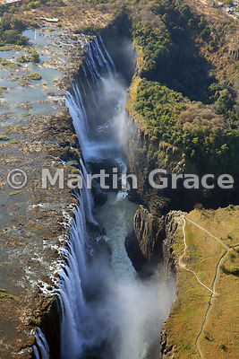 Victoria Falls (Mosi-oa-Tunya) from the air, Zambia and Zimbabwe