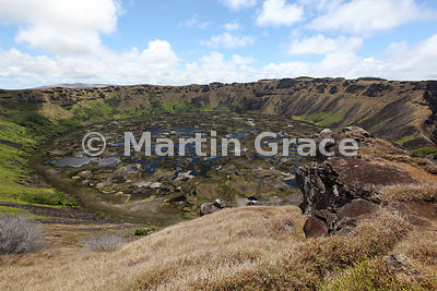 Crater of Rano Kau extinct volcano, Easter Island (Rapa Nui)