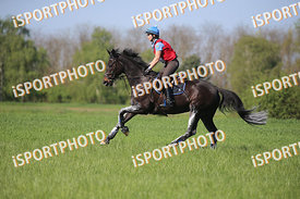 Barbara HORVÁTH (HUN) and KÜKÜLLŐ during National Qualifier Eventing Competition, cross country, 2018 April 21 - Bábolna, Hun...
