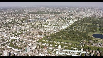 Aerial footage of Kensington Gardens and Bayswater, London