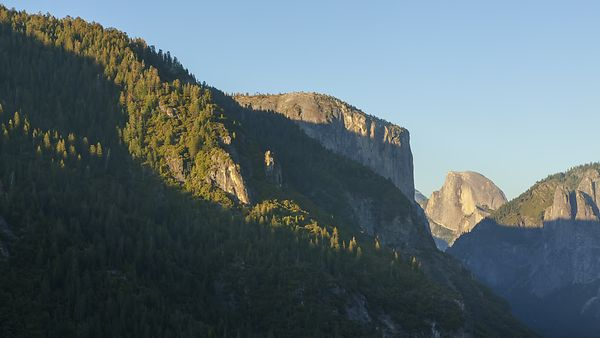 Medium Shot: Moving Shot Of Shadows Creeping Over El Capitan & The Valley