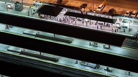 Bird's Eye: Active Rows Of Boarding Stations, Union Station L.A. At Night