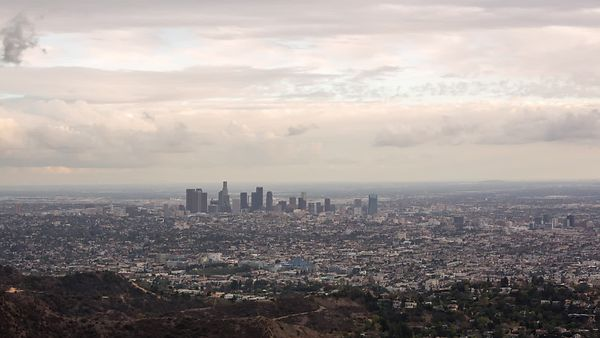 Bird's Eye: Pastel, Multi Cloud Layer, Skyline City-scape of Los Angeles