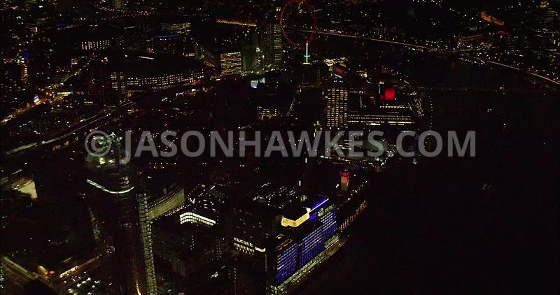 London night aerial footage, Southbank and Oxo Tower Wharf.