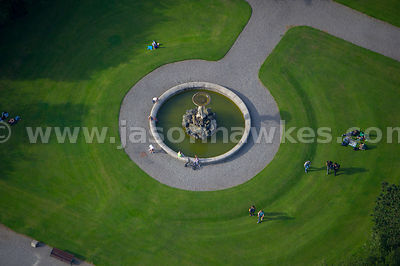 Aerial view of people in Iveagh Gardens, Dublin, Ireland