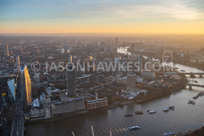Aerial view of SouthBank at dusk, London.