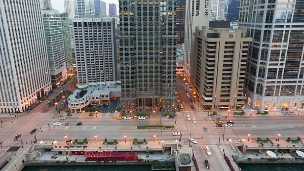 Medium Shot: Twin Intersections By The Chicago River During Sunset