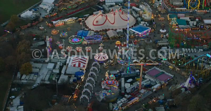 Aerial footage of Hyde Park Winter Wonderland