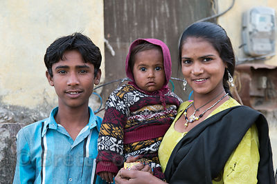 Family in Kharekhari village, Rajasthan, India