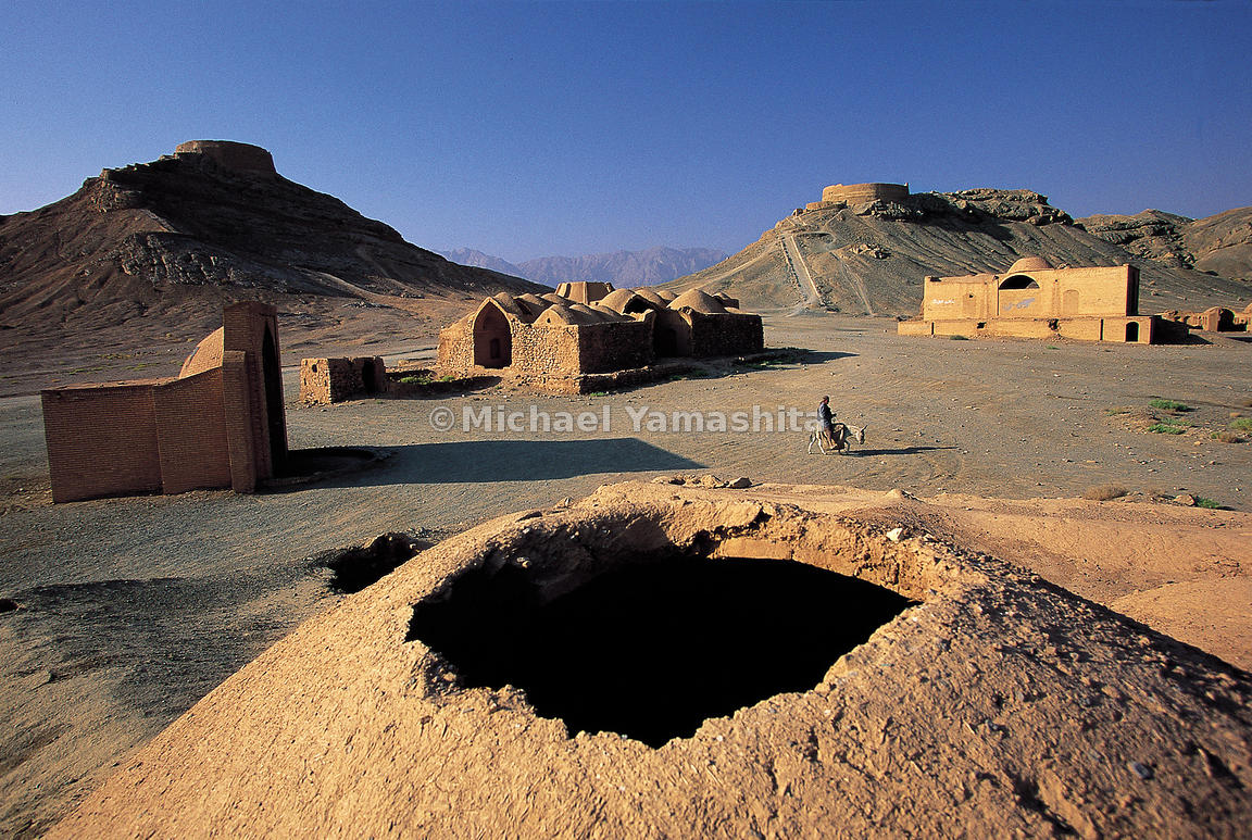 Votive Chapels at the base of the Zoroastrian funerary platforms.
