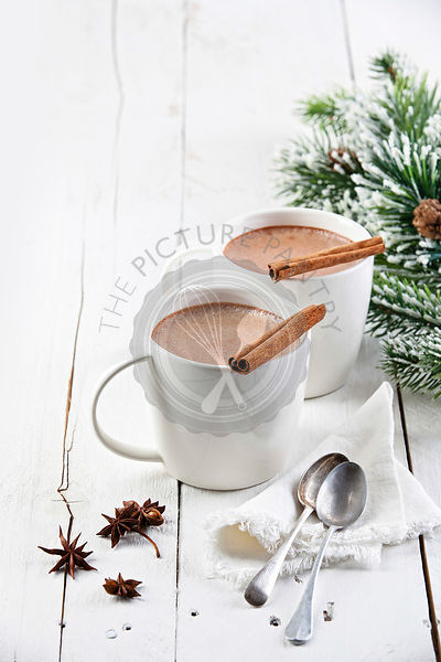 Hot cocoa with cinnamon sticks on white wooden background