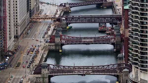 Bird's Eye: Close Up - Boats, Drawbridges & Traffic - A Marriage of the Chicago River & Upper Wacker Drive