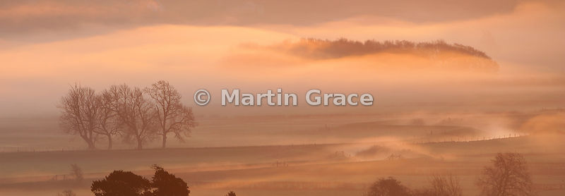 Misty December sunrise, Lyth Valley, Cumbria, England