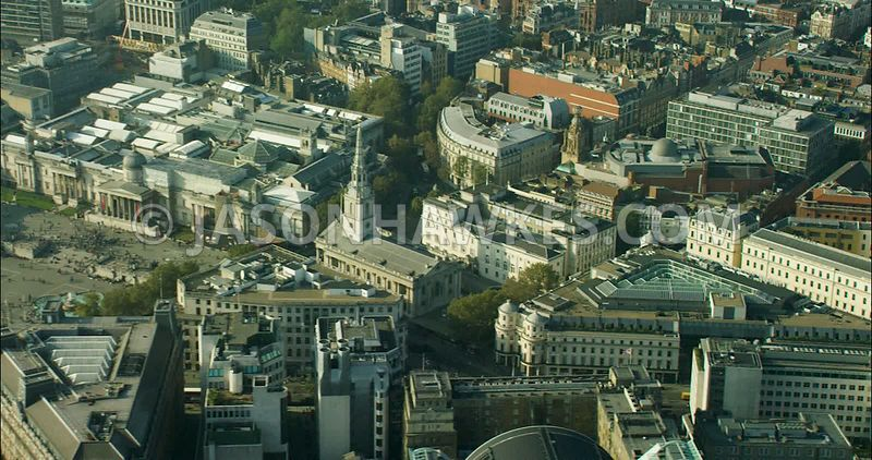 London Aerial Footage of Trafalgar Square.