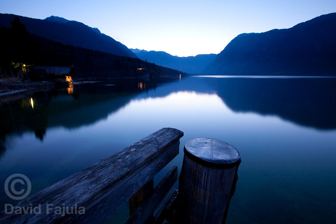 Lake Bohinj (Bohinjsko jezero) at dusk. View from the jetty. Triglav National Park