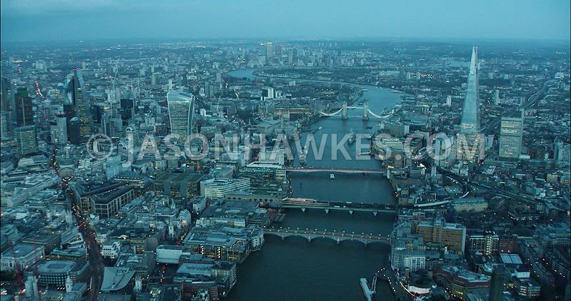 London Aerial Footage of The Shard and Monument