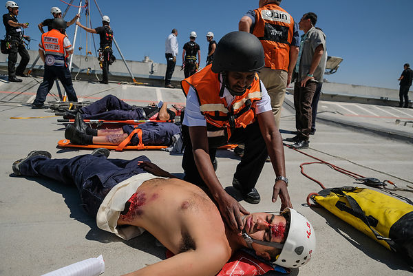 emergency drill simulating an earthquake at the Knesset, the israeli parliament in Jerusalem photos