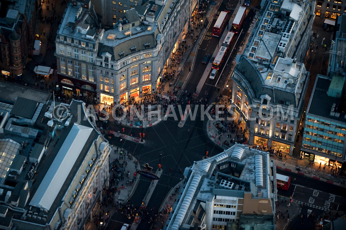Aerial view over Oxford Circus, London