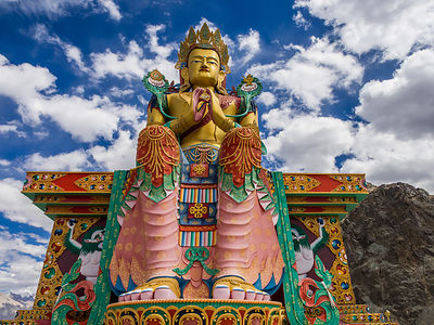 This photograph of a life size Buddha idol was taken in Leh.