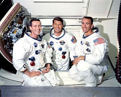 22 May 1968 - Prime crew of the first manned Apollo space mission, Apollo 7 (Spacecraft 101Saturn 205), L to R are Donn F. Ei...