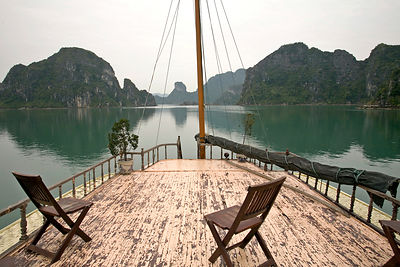 The deck of a junk in Ha Long Bay